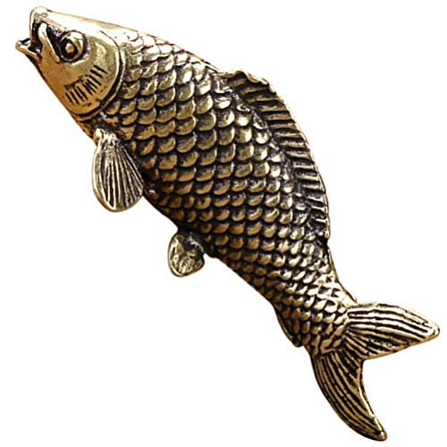 IMIKEYA Golden Fish Figurines Copper Fish Model Realistic Carp Figurines Chinese Goldfish Arowana Feng Shui Sculpture Decorations for Wealth Luck Prosperity