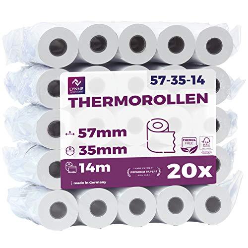 Papel térmico 57mm x 14m x 12mm - Ideal para máquinas de tarjetas de Crédito - Rollos ideal para todos los TPV y las impresora térmica - (57x35x12) Blanco -Sin BPA (20 Rollos )