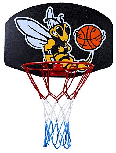 ABA Basketballboard Basketballkorb mit Netz Basketball Backboard für Kinder Basketballbrett inklusive Korb und Netz Basketballring Indoor (Biene)