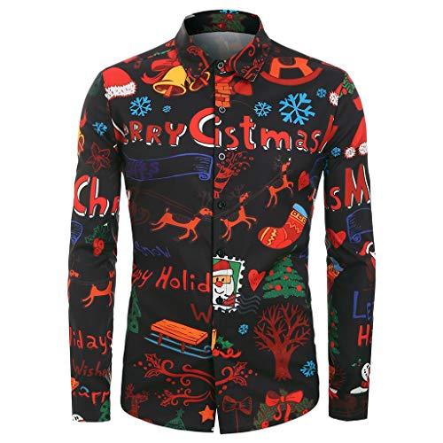 Xiangdanful Herren Hemd Weihnachten, Cartoon Print Weihnachtshemd, Button Up Langarm Shirt,Männer Christmas Shirt Top Blouse,Xmas Freizeithemd,Stehkragen (M, Schwarz)