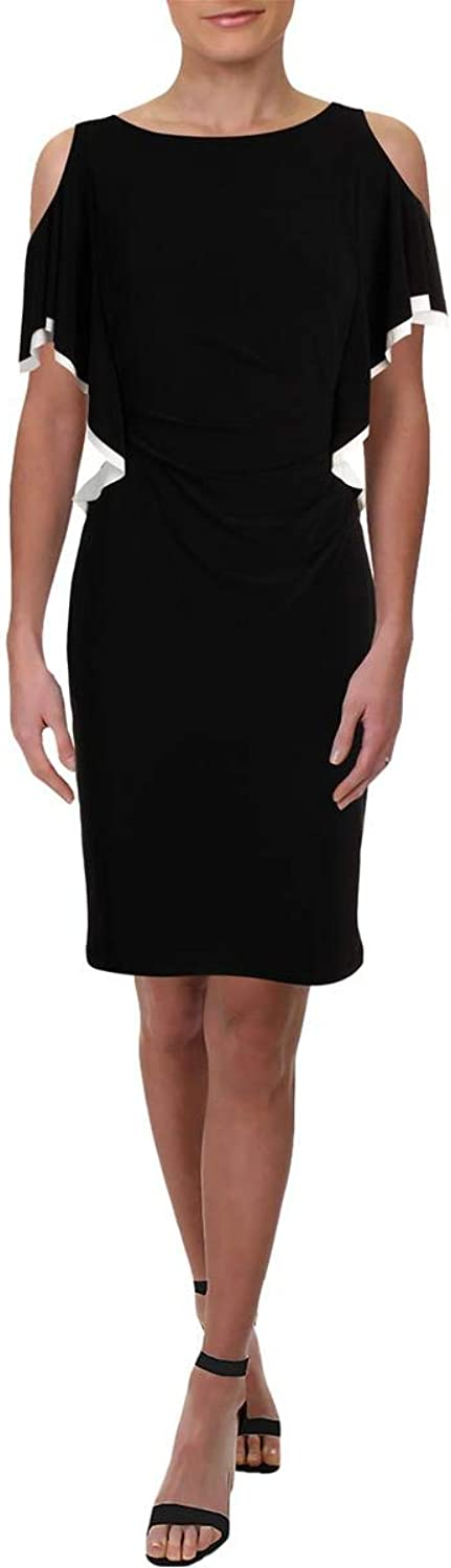 Lauren Ralph Lauren Womens Ruched Cold Shoulder Cocktail Dress