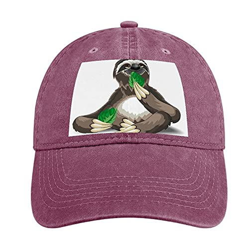 VEIMER Adult Curved Rubber Cowboy Hat Sloth Can Be Adjusted, Suitable for Men and Women Fashion Lovely Fun Wine Red