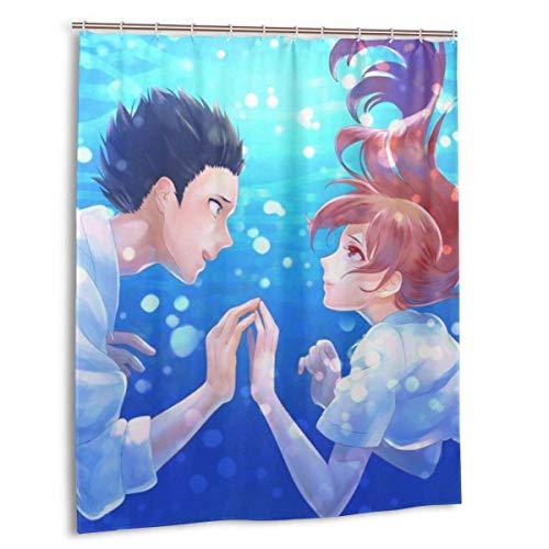 NBHJU Anime Koe Kein Katachi Duschvorhang 3D-Druck Polyesterfaser Wasserdichter Duschvorhang Keine Verformung Schnelltrocknend, mit & iexcl; & deg; 12 Kunststoffhaken & iexcl; & p