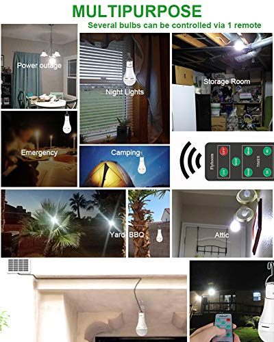 Flyhoom 2 Pack Solar Light Bulbs Outdoor Rechargeable, Portable Solar Bulb Light with Remote, 180LM, 4 Light Mode, LED Tent Light Bulb for Camping, Hiking, Emergency, Power Outage, Hurricane