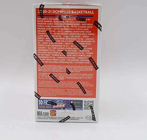 2020-21 Panini NBA Donruss Basketball Blaster Box - 11 Packs of 8-1 Auto or Memorabilia Card Per Box