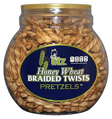 Utz Honey Wheat Braided Pretzel Twists – 56 oz Barrel – Sweet Honey Taste Thick Crunchy Pretzel Twists Perfect for Dipping and Snacks Zero Cholesterol Snack Food