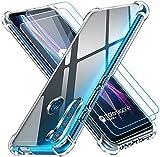 ivoler Funda para Motorola Moto One Fusion+ / Moto One Fusion Plus con 3 Unidades Cristal Templado, Carcasa Protectora Anti-Choque Transparente, Suave TPU Silicona Caso Delgada Anti-arañazos Case