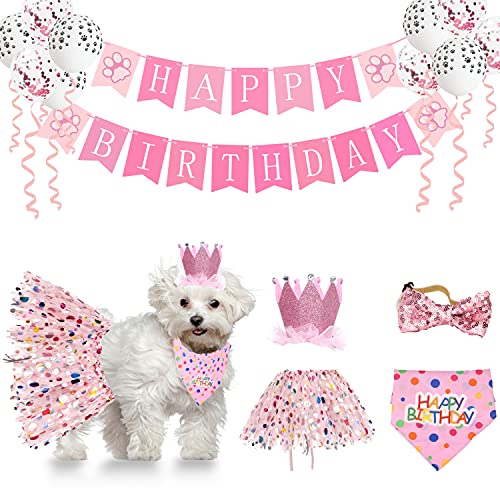 Dog Birthday Party Supplies Small and Medium Dog Bandana Party DecorationsSet with Balloons,Birthday Crown,Tutu Skirt,Bow Tie and Happy Birthday Banner