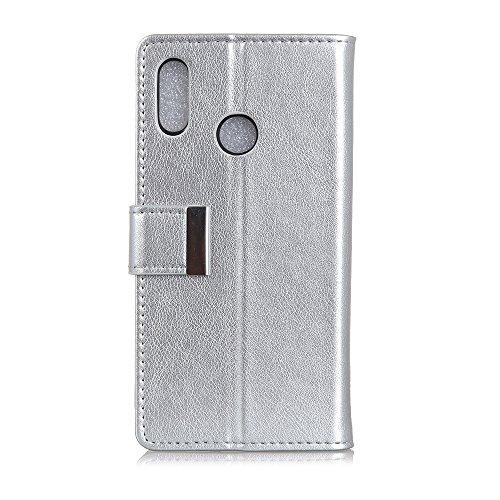 BQ Aquaris C hülle,(Wallet Series) BQ Aquaris C Handyhülle Leder flip case Handys Schutz Hülle mit Kartenfach für BQ Aquaris C (Silber)