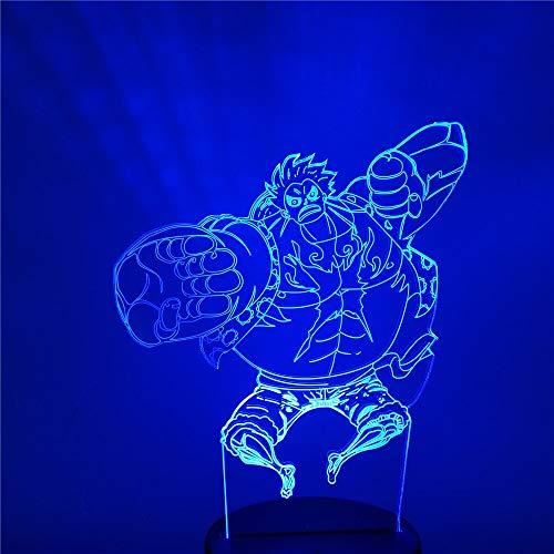 3D LED Night Light Animation Gear Fourth Monkey D. Luffy Bedroom Decoration Lighting