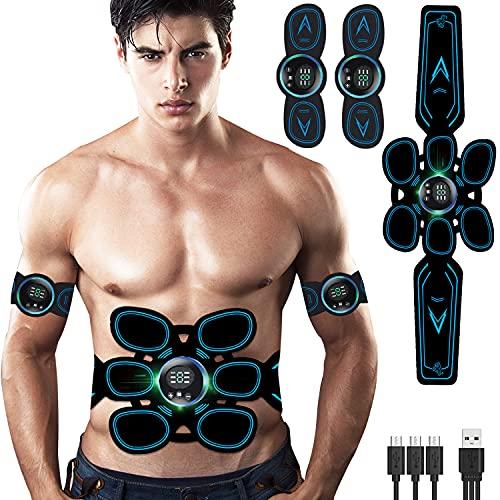 Tumax EMS Muskelstimulator, ABS Trainingsgerät Professionelle mit LED-Anzeige, Bauchmuskeltonus für Bauch, Arm und Beine, EMS Bauchmuskeltrainer für Frauen und Männer (Geschken 12Stk Gel Pads)