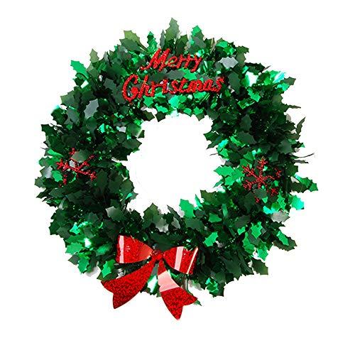 FLOMO 10.2' Tinsel Colorful Christmas Holiday Winter Wreath (Green)