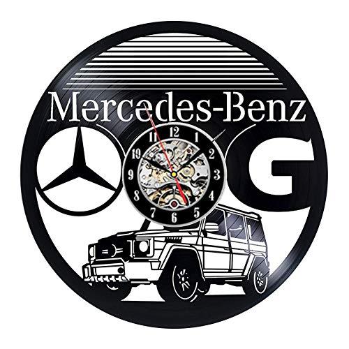 CHANGWW Kreatives Design Auto Schallplatte Wanduhr modernes Design Auto Logo 3D Dekoration Mercedes-Benz Wand Logo Vinyl Uhr Wanduhr Hauptdekoration