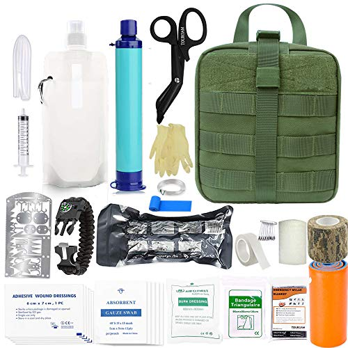 Emergency Survival Trauma Kit - MolleTactial First Aid Kit, Personal Water Filter Purifier Straw, Hurricane Disater Preparedness Equitment Tools But Out Bag for Camping Hiking Adventure Fishing