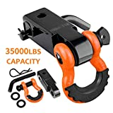 AUTOBOTS Tow Hitch Receiver 2', 35,000 Lbs Break Strength Heavy Duty Receiver with 5/8' Screw Pin, 3/4 Shackle, Towing Accessories for Vehicle Recovery Off-Road Orange&Black