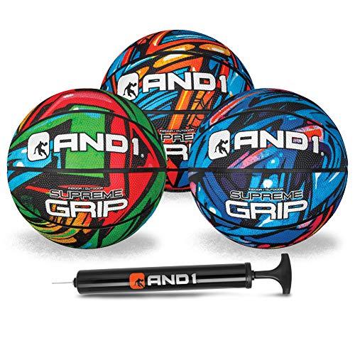 AND1 Conjunto de 3 mini basquete para crianças (esvaziado com bomba incluída): – Tamanho 9,5 cm de basquete premium juvenil, fácil de segurar, feito para uso interno e externo