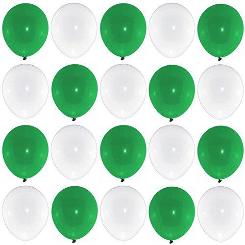 P&S events 50 Premium Luftballons 25 grün 25 weiß Markenqualität Helium geeignet Fußball Fan Artikel
