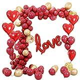 MMTX Palloncini Anniversario, 67 Pack Cuore Palloncini Set,Rosso Palloncini a Forma di Cuore per San Valentino,Anniversario,Nozze.