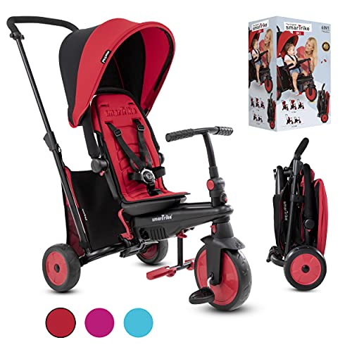 smarTrike Toddler Tricycle Stroller, Compact Bike Stroller for Kids, Easy Push Tricycle Kids Stroller Doubles as a Toddler Bike, Baby Tricycle for 1, 2, 3 Years Old Adjusts and Folds (Red, STR3)