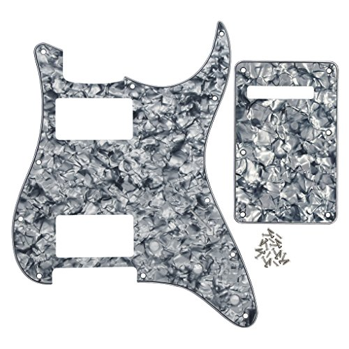 IKN 11 Hole Strat HH Pickguard Scratch Plate Back Plate w/Screws for Standard Strat Modern Style Guitar Replacement, 4Ply Grey Pearl/Smoky Blue Pearl