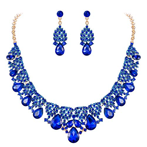 Clearine Indian Wedding Bridal Costume Jewellery Sets for Women Rhinestone Teardrop Statement Necklace Dangle Earrings Navy Blue Gold Toned