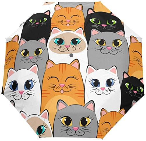 Folding Auto Open Close Regenschirm Funny Cartoon Cat Print Winddicht Reise Leichte Anti-UV-Schutz Regen Regenschirm Compact für Jungen Mädchen Männer Frauen