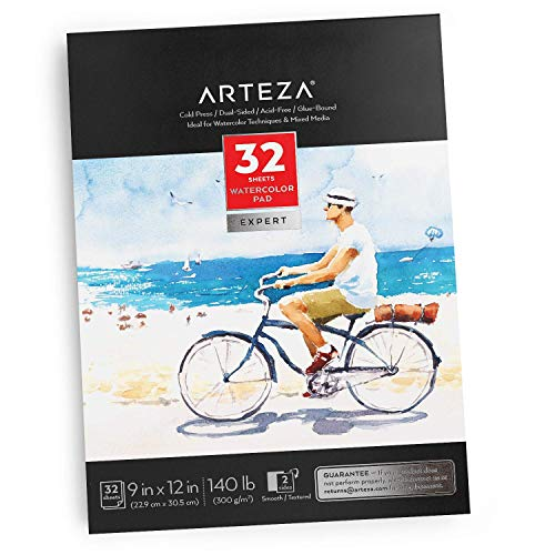 Arteza 9x12' Expert Watercolor Pad, 32 Sheets (140lb/300gsm), Cold Pressed, Acid Free Paper, Ideal for Watercolor Techniques and Mixed Media