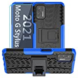 Moto G Stylus 2021 Case,with HD Screen Protector,SKTGSLAMY [Shockproof] Tough Rugged Dual Layer Protective Case Hybrid Kickstand Cover for Motorola Moto G Stylus 2021 (Blue)
