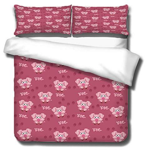 Funda de edredón Huellas de cerdo animal de dibujos animados rosa rojo Ropa de Cama anti alergico cierre de cremallera 200cmx200cm 2 Fundas de almohada 50cmx75cm Para dormitorio de sala de estar
