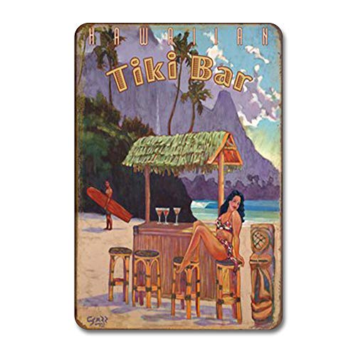 Placa de metal para decoración tropical de bar Tiki de Surf, decoración de pared, estilo retro, para la calle, jardín rústico para hombres, arte de pared, decoración de cocina