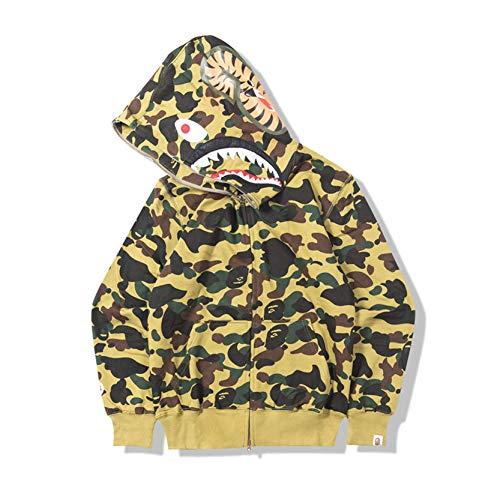 Bape Hoodie, camuflaje Shark Hoodie, sudadera con capucha, moda ropa deportiva, cremallera Hip-hop, camiseta divertida, A, pequeña