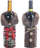LIBOYUJU Navidad Nueva Mesa de Comedor, artículos para el hogar, decoración de la Botella de Vino, Falda a Cuadros a Rayas, Cubierta de la Botella de Vino, Cubierta de Vino * 2