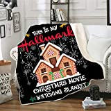 This is My Christmas Movie Watching Blanket Quilt,Christmas Plush Throw Blanket for Couch Bed,with Reversible Sherpa Fleece 4050