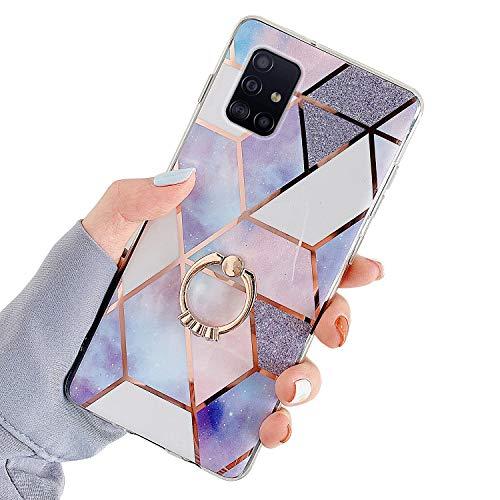 Kompatibel mit Samsung Galaxy A51 5G Hülle,Glänzend Bling Glitzer Marmor Design Muster Schutzhülle mit 360 Ring Ständer Ultra Dünn Weiches TPU Silikon Gel Bumper Handyhülle Hülle Case,#4