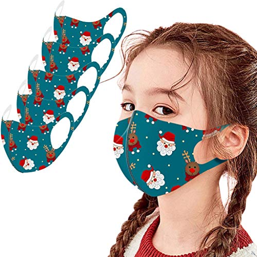beautyfine 5PCS Christmas Kids Ice Silk Protective Mouth Shield, Adjustable Soft Elastic Earloop, Breathable and Comfortable, Dust and Haze, Washable and Reusable