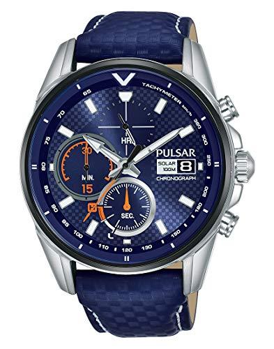 Pulsar Rally Herren-Uhr Solar Chronograph Edelstahl mit Lederband PZ6031X1