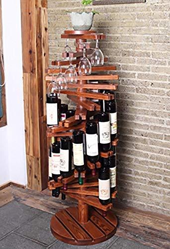 YTO Piso Botellero Vertical De Madera Que Gira El Estante del Vino del Estante De Exhibición del Vino Multifuncional L19.12.20