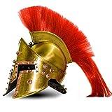 Calvin Handicrafts - Casco de latón antiguo 300 espartano medieval Leonidas griego disfraz armadura casco 300 / fácil eliminación de penachos, especialmente diseño para Halloween