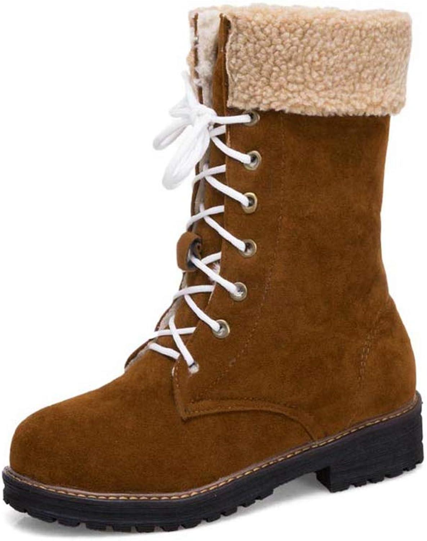 JOYBI Women Warm Mid Calf Boots Fashion Round Toe Lace-Up Slip On Fur Lined Winter Block Low Heel Boots