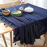 Mantel Borla Rectangular Moderna Boda Lateral Bolas De Algodón De Color Azul Oscuro, Algodón, Mantel De Lino, Decoración De Múltiples Tallas (Estilo 01,55 * 86in/140 * 230cm)