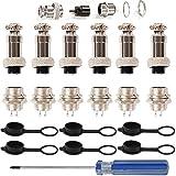 RUNCCI-YUN Lot de 6 connecteurs pour Aviation, 16 mm 2 Broches Femelles en métal 5 A + Filetage 16 mm 2 Broches mâles 5 A + Capuchon de Protection en Caoutchouc