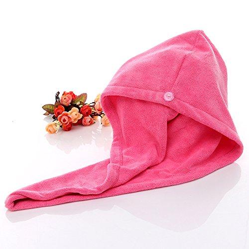 ARMAC Gorro de ducha de forro polar de coral muy suave, superabsorbente, color rosa