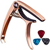 Mustang Alloy Guitar Capo With Bridge Pin Remover with 10 CelluLoid Alice Guitar Picks for Acoustic Guitar, Electric Guitar, Ukulele (Black) (Limited Period Offer) ASSORTED COLOUR