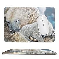 かわいいシロクマの赤ちゃん滑り止めゴムベースのマウスパッド、厚みのある継ぎ目、ラップトップオフィスに適しています9.8X11.8インチ