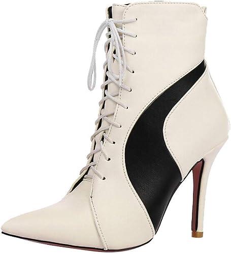 Qiusa Chaussures à Talons Hauts pour Femmes avec Bout Pointu et Lacets croisés (Couleuré   Blanc, Taille   7 UK)