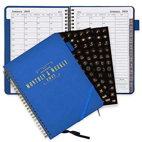 SynLiZy Agenda A5 2021 settimanale e mensile 365 giorni accademici giornalieri con tre fogli di adesivi,12 linguette mensili,chiusura elastica,tasca interna,portapenne,6,3'x 8,7'