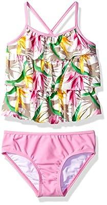 Tommy Bahama Girls' Little Flounce Ruffle Tankini Two Piece Bikini Set, Multi, 6