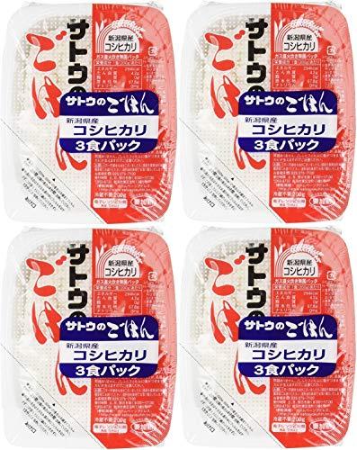 サトウのごはん 新潟県産コシヒカリ 200g 3 食パック × 4 個入