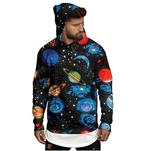 Sudaderas de Halloween con capucha para hombre, diseño de luna, 3D, manga larga, para disfraz de fiesta, novedad, gris oscuro, S