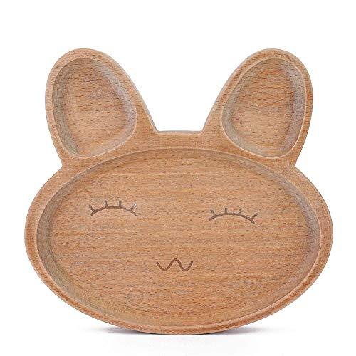 Plato de comedor para niños de madera, forma de animal de dibujos animados lindo Bandeja de plato de plato de comida dividida Vajilla para...